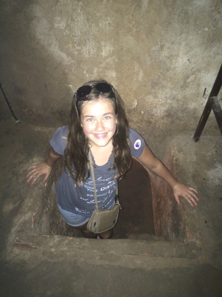 Cassidy emerging from the Cu Chi Tunnels of Vietnam.