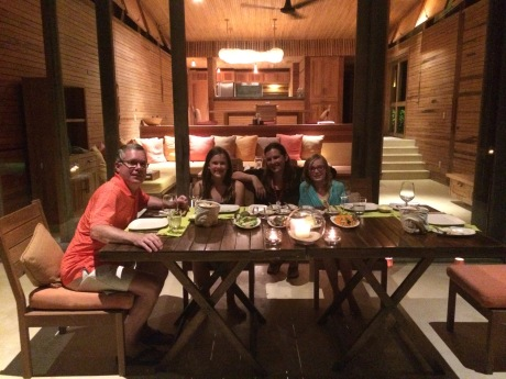"A barbecue feast on the deck of our ""middle"" villa."