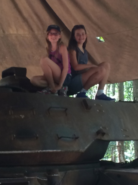 The girls on top of an old American tank at Cu Chi tunnels.
