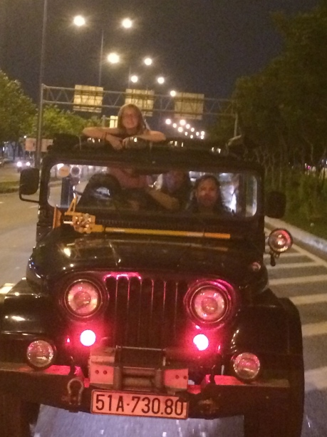 Steph on nighttime jeep tour of Saigon.