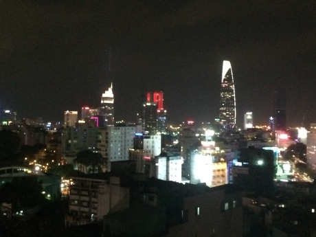 Beautiful downtown Saigon at night.