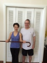 My dear friend and Yogi Christina, getting ready to snap my cane as I slowly get back to walking without help.