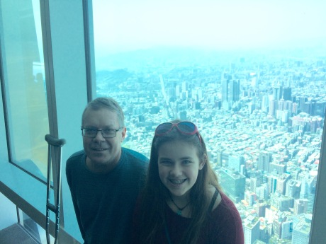 Cassidy and I high above the city in the Taipei 101 building.