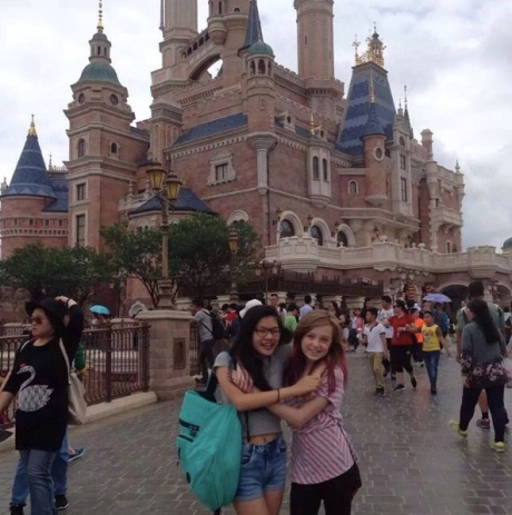 Stephanie and friend Emma say goodbye at Disneyland, Shanghai.