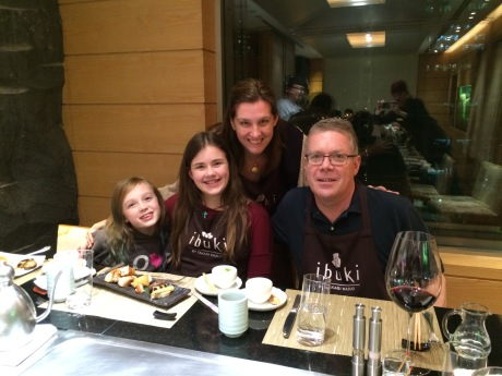 The family having Teppanyaki in Taipei.
