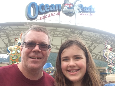 Cassidy and I at Ocean Park in Hong Kong, getting ready for the really fast rides.
